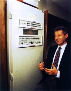 Awesome image that shows the first modern day router - and this guy loves it.